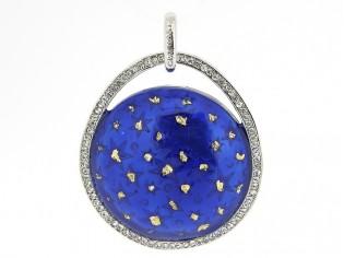 Zilveren medaillon Pedant hanger met ingelegde kristallen