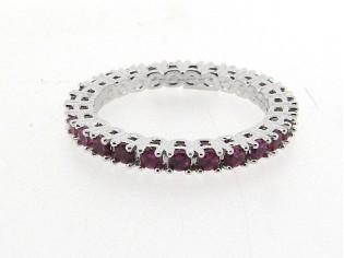 Zilveren trendy ring met Fuchia kristallen