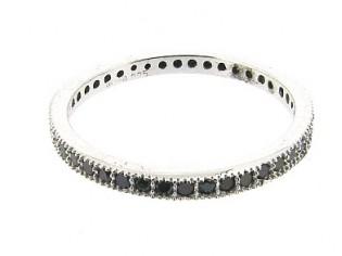 Zilveren trendy fragiele ring met donkere kristallen