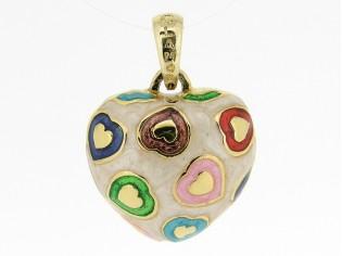 Hangertje in mini hartvorm met gouden hartjes ingelegd met gekleurde emaille
