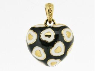 Hangertje in mini hartvorm met gouden hartjes ingelegd met zwart wit gekleurde emaille