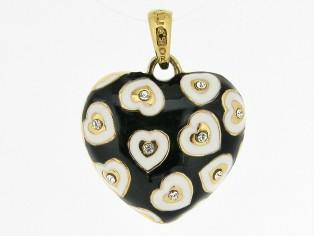 Hangertje in hartvorm met gouden hartjes ingelegd met Swarovski kristallen