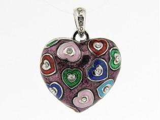 Hangertje in hartvorm met gekleurde hartjes ingelegd met Swarovski kristallen