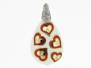 Hangertje met mini hartjes 'love' met wit rood emaille inkleurd