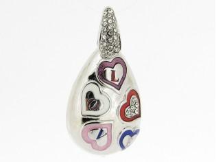 Hangertje met mini hartjes 'love' met kleurijk emaille inkleurd