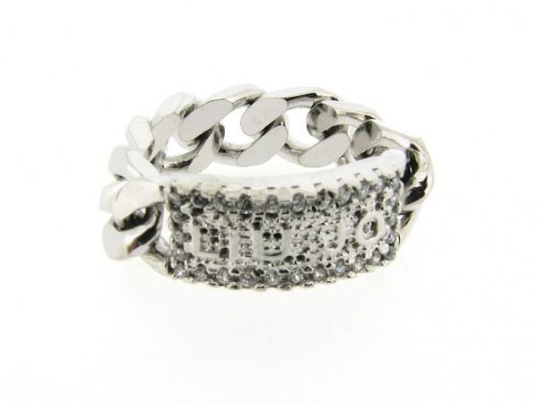 Zilveren trendy gourmet Liu Jo ring met zirconia steentjes