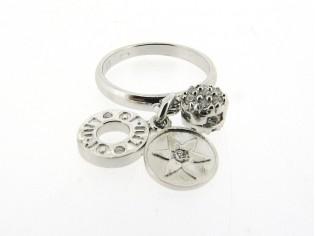 Zilveren trendy Liu Jo ring met charms en zirconia steentjes