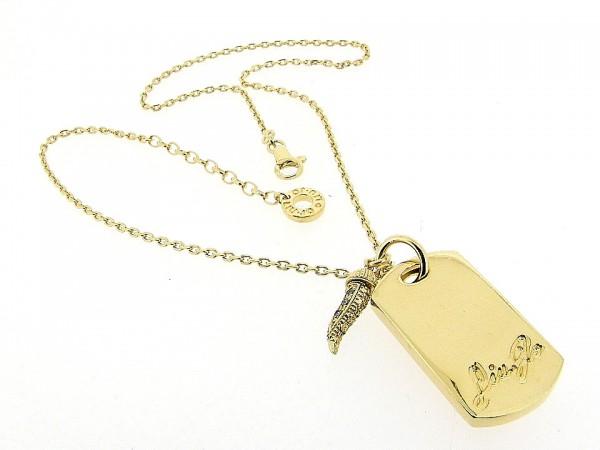 Gouden halsketting Liu Jo collier met charm en gelukspeentje met zirconia steentjes bezet en gouden toplaag