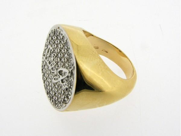 Zilveren trendy Liu Jo ring met en zirconia steentjes en gouden toplaag