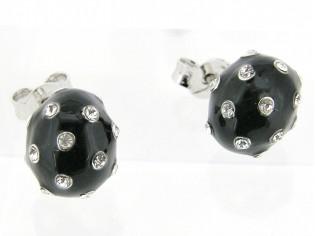 Zilveren oorsteker, charmant oorknopje met ingelegde kristallen