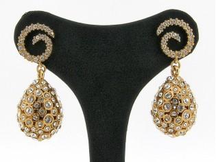 Zilveren Clamori  oorhanger lengte 18 karaat Rosé goud verguld