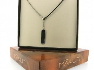 Makuti edelstaal collier met 0.01ct diamant ingelegd met met ebony hout