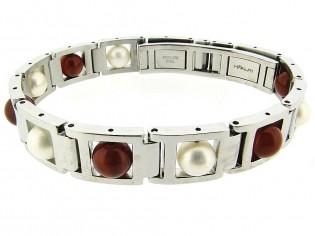 Stalen stoere armband voorzien vancarneool edelstenen en echte parels