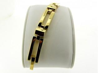 Gouden armband met grote blok schakel en vlindersluiting