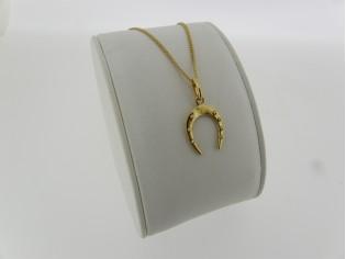 Gouden ketting met hangertje geluk hoefijzer