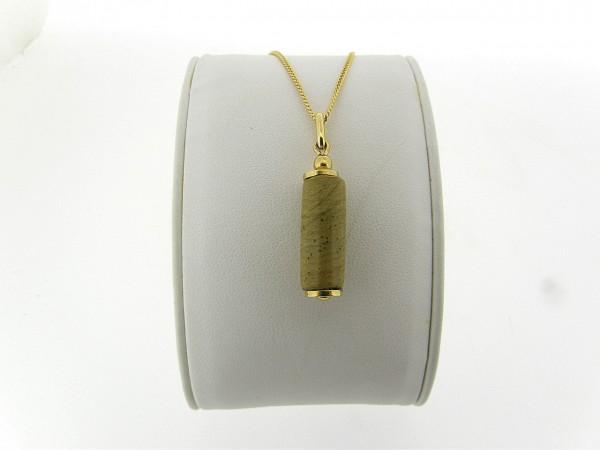 Gouden ketting met hangertje landschap agaat edelsteen