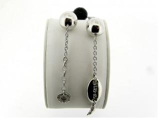 Zilveren Liu Jo jasseron armband met gefacetteerde onyx edelsteen en zilveren charms