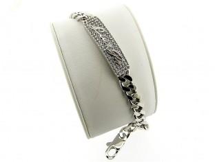 Zilveren plaat armband met stoere gourmet schakels