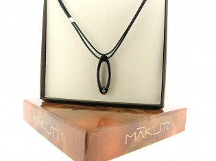 Makuti edelstaal collier met 0.01ct diamant in ovaal hangertje met ebony hout