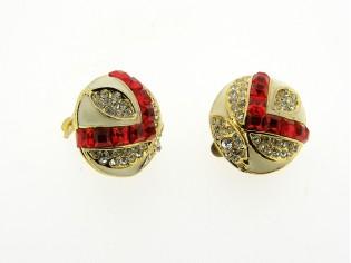 Gouden vintage oorclips met ingelegd Robijn gekleurde kristallen Markies geslepen