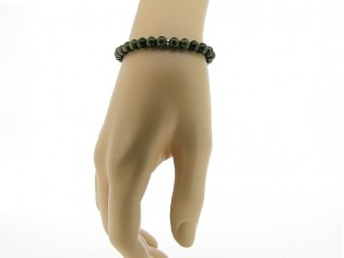 Armbandje met Unakiet edelsteentjes en verstelbaar lederen sluiting