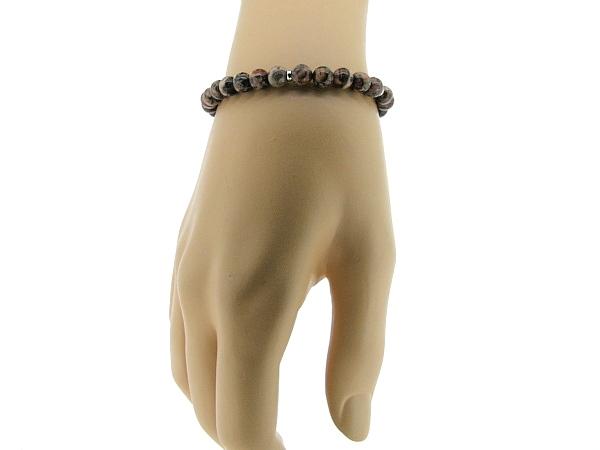 Armbandje met Leopard Jaspis edelsteentjes en verstelbaar lederen sluiting