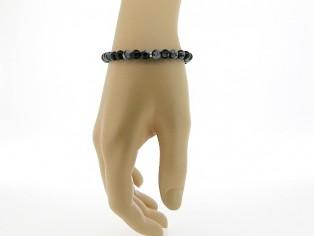 Armbandje met Obsidiaan edelsteentjes en verstelbaar lederen sluiting