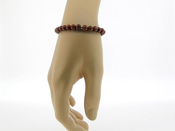 Armbandje met Jaspis edelsteentjes en verstelbaar lederen sluiting