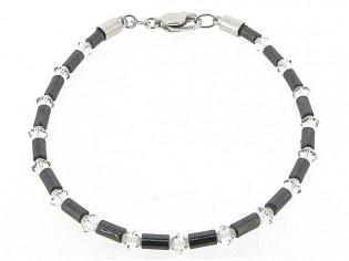 Hematiet armbandje met cylindrische edelsteentjes, gecombineerd met kristallen