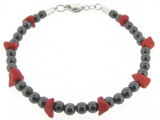 Hematiet armbandje met edelsteentjes, gecombineerd met rode split steentjes