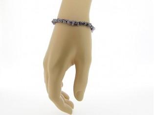 Hematiet armbandje met edelsteentjes, gecombineerd met amethist split steentjes