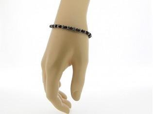 Hematiet armbandje met edelsteentjes, gecombineerd met rode Swarovski steentjes