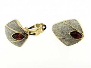 Gouden oorclip robijn kristal met zilver