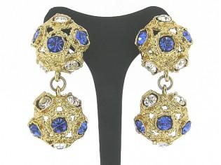 Chique chandelier oorclips, uitgaans vintage oorclips met ingelegde heldere en saffier kristallen