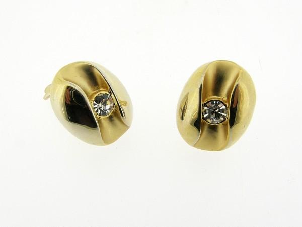 Gematteerd gouden vintage oorclips met ingelegde ronde kristallen