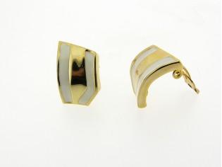 Chique gouden vintage oorclip met ingelegde emaille