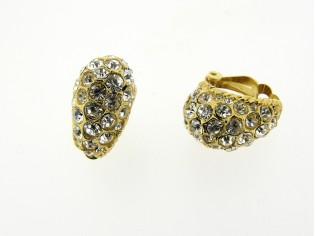 Gouden grote vintage oorbellen met ingelegde heldere kristallen