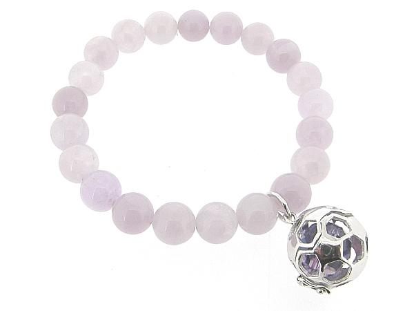 Armband met heldere Amethist edelstenen met voetbal bedeltje waarin Swarovski kristal