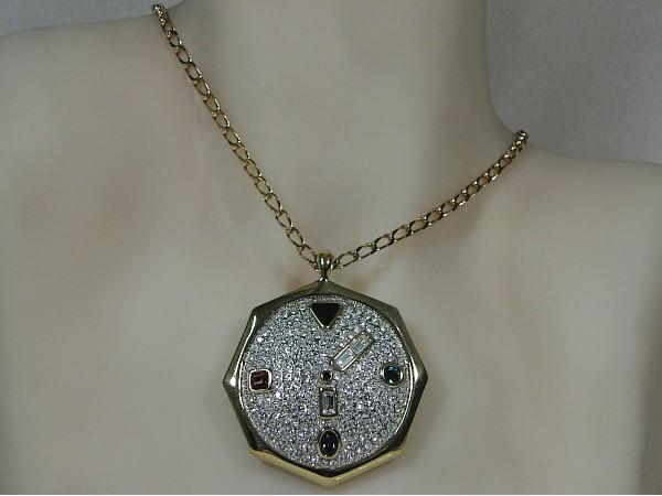 Gouden ketting met hangertje klok