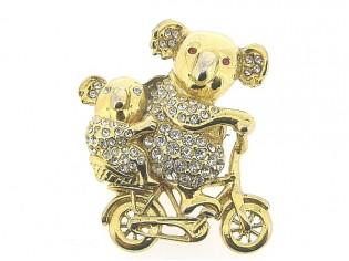 Goudenbroche met beertjes en Swarovski kristallen ingelegd
