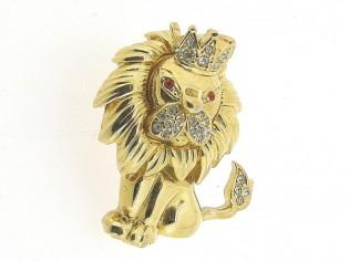 Klassieke broche goudenkoning leeuw kledingbroche met Swarovski kristallen ingelegd