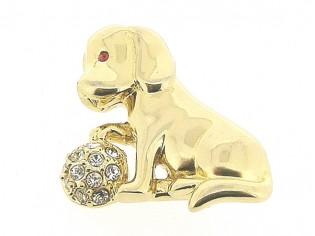 Vrolijk broche goudenhondje met Swarovski kristallen ingelegd