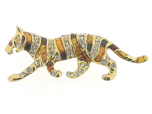 Goudenbroche, klassieke geëmailleerde panter kledingbroche met swarovski kristallen ingelegd