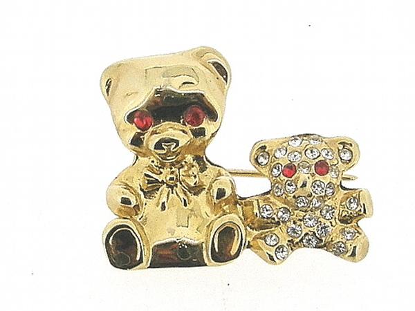 Vrolijk broche goudenbeertjes met Swarovski kristallen ingelegd
