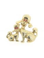 Vrolijk broche goudenpoedeltjes met Swarovski kristallen ingelegd