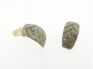 Gouden oorclip creool met zilver