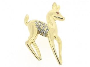 Vrolijke goudenbambi broche met Swarovski kristallen ingelegd