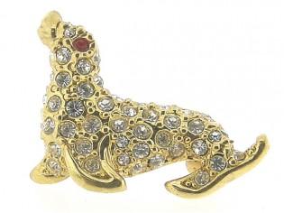 Vrolijk broche goudenzeeleeuw met Swarovski kristallen ingelegd