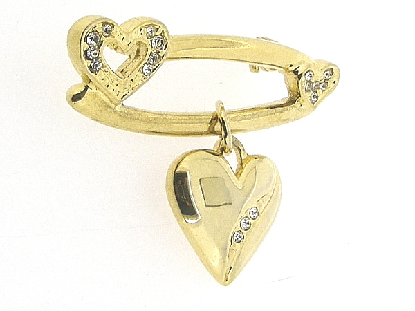 Klassieke broche goudenhartje met Swarovski kristallen ingelegd