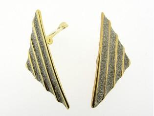 Gouden oorclip driehoek goud lijnen met zilver